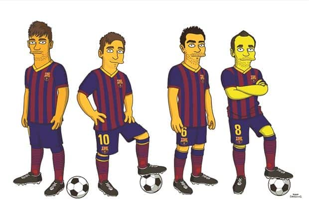 Messi, Neymar und co. (FC Barcelona im Simpsons Style)